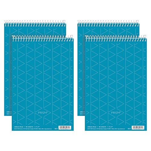 "TOPS Prism Steno Books, 6"" x 9"", Gregg Rule, Blue Paper, 80 Sheets, Perforated, 4 Pack (80284)"