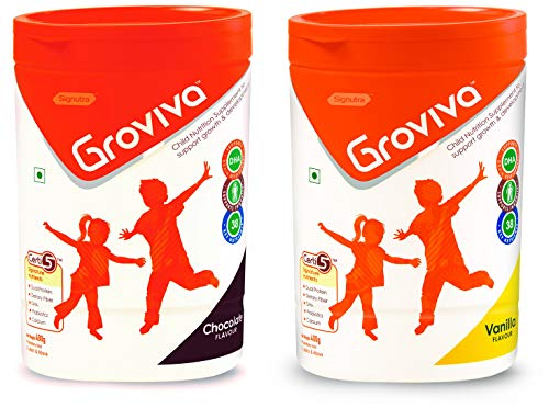 Groviva Child Nutrition Supplement Jar- 400g (Chocolate) & Child Nutrition Supplement Jar- 400g (Vanilla) Combo