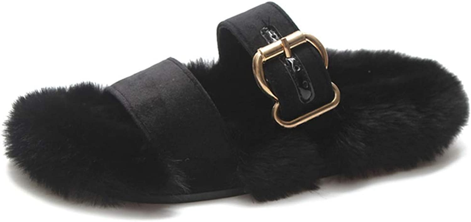 FAY WATERS Women's Faux Fur Slippers Winter Warm Creepers Slip On Causal Fashion Platform shoes