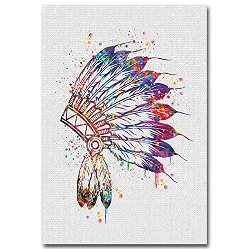 SDFSD Watercolor Buddha Lotus Yoga Indian Feather Canvas Poster Abstract Art Canvas Painting Wall Picture Modern canvas painting 40 * 50cm
