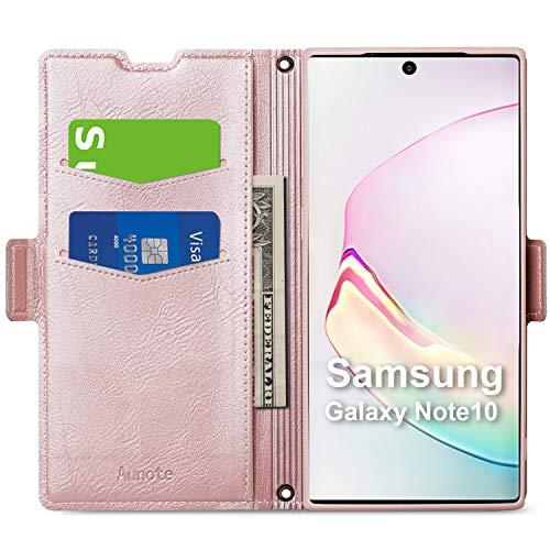 Hülle Samsung Note 10, Galaxy Note 10 Hülle Kartenfach, Schutzhülle Samsung Note 10, Tasche Note 10, Handyhülle Note 10 Klapphülle, Note10 Hülle Leder Etui Folio, Flip Phone Cover Hülle. Rosegold