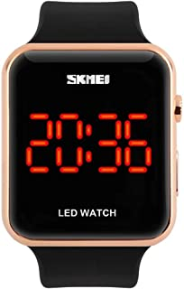 Unisex Square LED Digital Watch Electronic for Men Watch for Women Student Silicone Watches