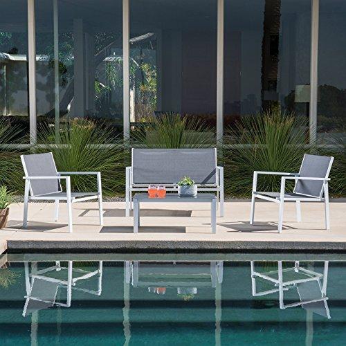 Mōd Furniture HARP4PC-WG Harper 4 Piece Sling Seating Set, White