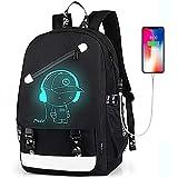 Teen Boys Backpack for Middle High School, Cartoon Luminous Student Bookbag Daypack - Music Black