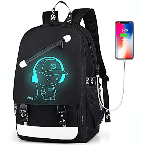 Teen Boys Backpack for Middle High School, Cartoon Luminous Student Bookbag Daypack - Music Bl
