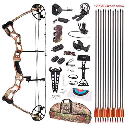 Leader Accessories Compound Bow Hunting Bow 50-70lbs with Max Speed 310fps, Black