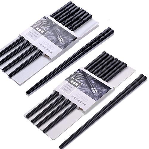 EssStäbchen 10 Paar Zwei Stile - Japanische Chopsticks Schwarz chinesische stäbchen Alloy Chopsticks Stäbchen für Asiatisches Geschirr Wiederverwendbare EssstäBchen Waschbar FüR GeschirrspüLer