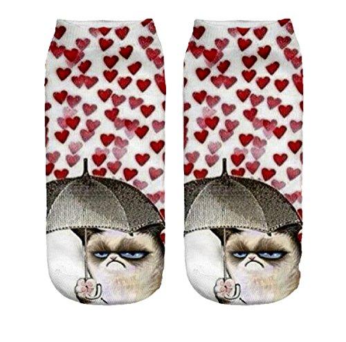 Ferocity Lustige Socken Sneaker Halbsocken Strümpfe Sportsocken Füßlinge mit Motiv 3D, Grumpy Hearts, 36 - 40