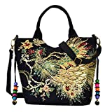 Bloomerang Vbiger Women Canvas Shoulder Bag Peacock Embroidery Handbag Stylish Tote Bags C