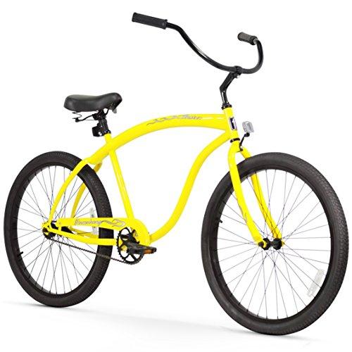 Firmstrong Bruiser Man Single Speed Beach Cruiser Bicycle, 26-Inch, Yellow