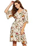 Milumia Women's Boho Button Up Split Floral Print Flowy Party Dress Medium Multicolor-7