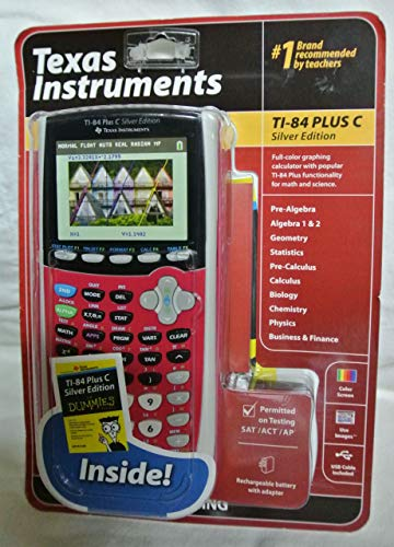 Texas Instruments TI-84 Plus C Silver Edition Graphing Calculator, Full Color Display, Includes Dummies Manual, Dark Pink (Renewed)