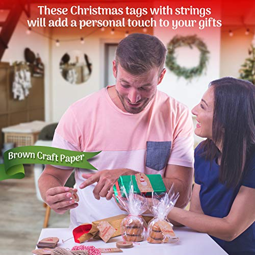 100 Pieces Set Christmas Tags with String Perfect for Labeling Your Surprises - 10 Different Designs Kraft Paper Tags with Twine Included Great for Present Wrapping, Baked Goods Tags, Price Tags Photo #4