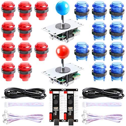 Hikig New Updated Version 2-Player LED Arcade DIY Kit - 2X Zero Delay LED USB Encoder + 2X Arcade Joystick + 20x LED Arcade Buttons for MAME, PC, Windows, Raspberry Pi, Arcade1Up (Red & Blue Kit)