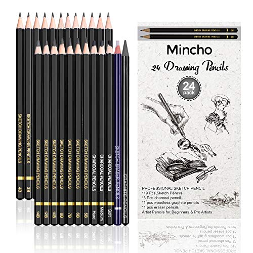 Premium Sketch Drawing Pencils - 24 Piece Professional Pencils Set Includes Graphite, Charcoal and Eraser Pencils (7H-14B), Shading Graphite Pencils for Adults & Kid Artists, Sketching