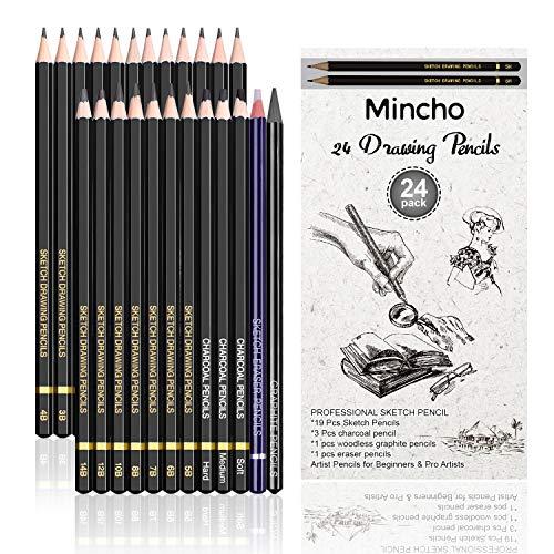 プレミアムスケッチ描画鉛筆 - 24本プロフェッショナル鉛筆セット グラファイト、チャコール、消しゴム鉛筆(7H-14B) シェーディンググラファイト鉛筆 大人&子供アーティスト、スケッチ用