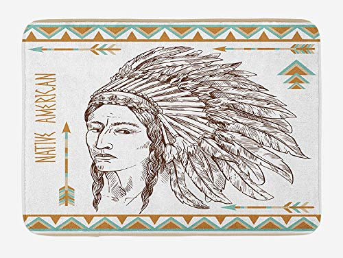 Casepillows Native American Badmat, Traditionele Native Tribal Man Portret Etnische Illustratie Print, Pluche Badkamer Decor Mat met Non Slip Backing, 23,6 x 15,7 Inch, Chocolade Wit Blauwgroen