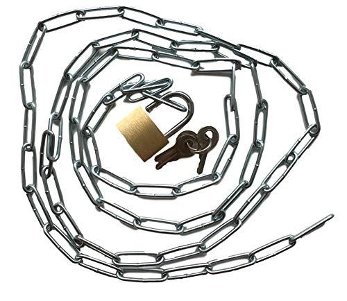 Stahlkette mit Vorhängeschloss Set – Robuste Kette mit Schloss + 3x Schlüssel – Länge wählbar 50 75 100 150 200cm – Verschließen & Versperren – Haushalt & Werkstatt (200cm)