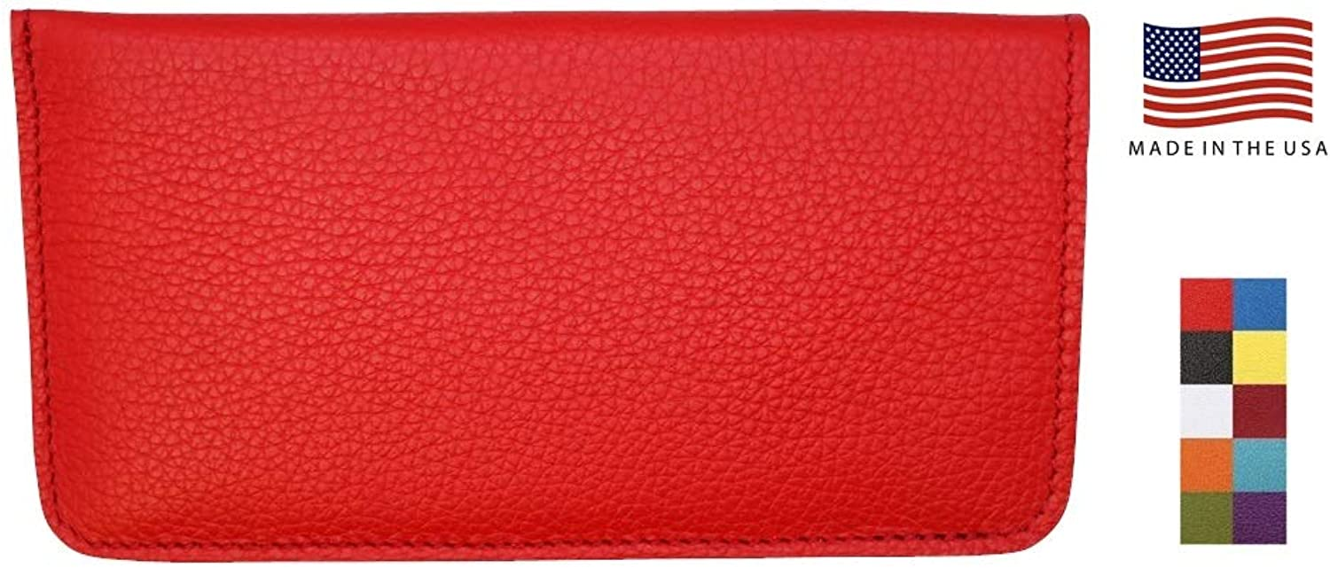 Genuine Leather Eyeglass Case Soft  Padded Suede Interior  Made in USA