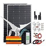 Giosolar Kit de viento solar para carga de batería de 12 V 24 V, sistema Home Off Grid con inversor de corriente de onda sinusoidal pura de 1000 W