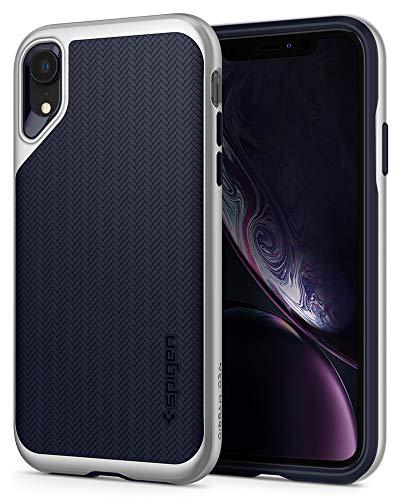 Spigen Neo Hybrid, Kompatibel mit iPhone XR Hülle, 064CS24880 Zweiteilige Modische Muster Silikon Schale und PC Rahmen Schutzhülle Case (Satin Silber)