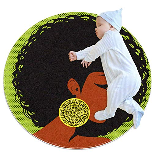 chuangxin Profiel Silhouette Afro-Amerikaanse WomanBaby ronde Play Pad Crawling Mat Crawl Kussen Air-Conditioned Tapijt voor Kinderen Peuters Slaapkamer, 27.6x27.6IN