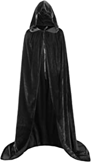 Fit Design Hooded Cloak Long Velvet Cape for Christmas Halloween Cosplay Costumes