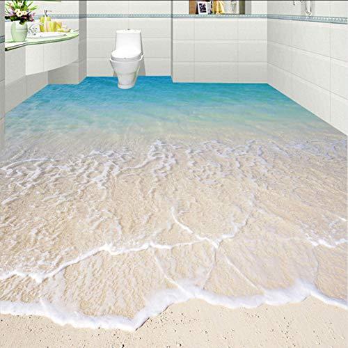 Ponana Benutzerdefinierte Selbstklebende Bodentapete Tapete Moderne Strand Meerwasser 3D Boden Fliesen Aufkleber Badezimmer Küche3D-350X250Cm