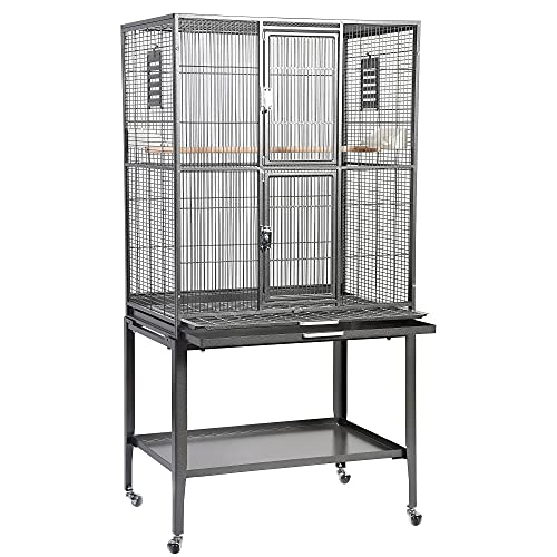 Brisbane Cage (Black) - Large Spacious Durable Metal Cage - for Sugar Gliders, Chinchillas, Squirrels, Ferrets & Other Small Pets