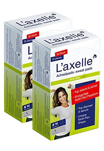 L'axelle Achselpads, Größe M, 60 Stück, Schutz vor Schweiß- und Deoflecken, zum Einkleben in die Kleidung, saugen Schweiß zuverlässig auf, für Frauen und Männer