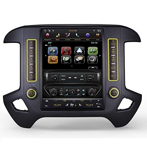 CARSOLL Compatible with Chevrolet Silverado GMC Sierra 2014-2018 Android PX6 4GB RAM 12.1' Tesla-Style Fast Boot Vertical Screen Navigation Radio (Black Bezel, for OEM 8' Screen (IO5 IO6))