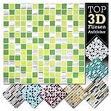 Grandora 4 stickers 25,3 x 25,3 cm vert clair verdoyant argentés autocollant pour carrelage Design 9 I 3D mosaïque feuille de carrelage Cuisine baignade sticker mural décor de carrelage W5423