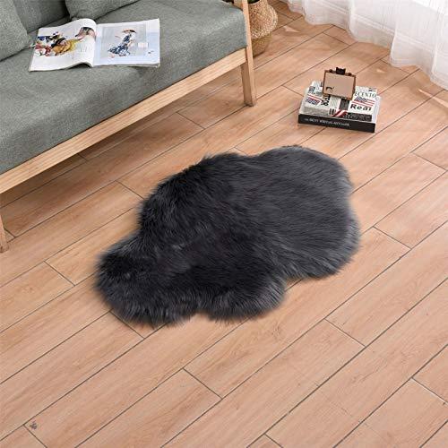 RAILONCH Alfombra de piel de cordero sintética, suave y cómoda, para salón, dormitorio (gris oscuro, 60 x 90 cm)