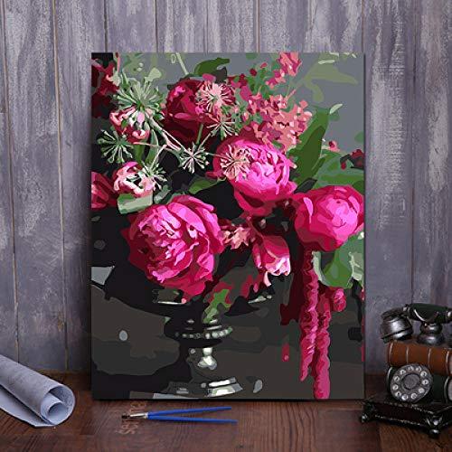 Xyywqybg Malen Nach Zahlen Auf Leinwand Rose Vor Trauer Für Erwachsene Kinder Gemälde Handgemalt Kit Diy Geschenk Dekoration-50X65Cm, Frame