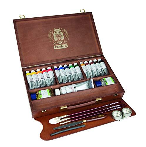 Schmincke Künstlerfarben, MUSSINI® - Pintura al óleo, caja de madera con 15 tubos de 35 ml, 1 x 150 ml blanco y accesorios