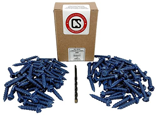 "Chenango Supply 1/4 x 1-1/4"" Hex Head Concrete Screw Anchor. 100 Pieces with Drill Bit (Miami-Dade Compliant) (1/4 x 1-1/4)"
