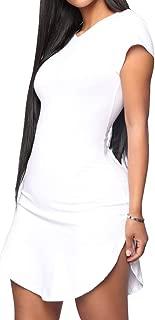 Enggras Women's Sexy Side Slit Shirts Summer Casual Bodycon Short Sleeve Mini T Shirt Dress