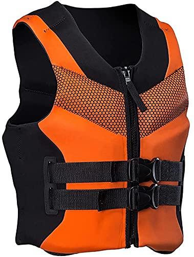 Conemmo Chaleco de natación para adultos, ayuda a la flotabilidad, chaleco de neopreno, chaleco de vida, chaleco de vida, para pesca, surf, natación, para hombres y mujeres, naranja, 5XL
