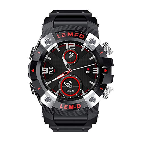 DFKDGL Smart Watch, 1,3-Zoll-Edelstahl-Ring-360 * 360HD Dual-Bluetooth-Headset TWS Fitness-Sport-Uhr, kompatibel mit Android IOS