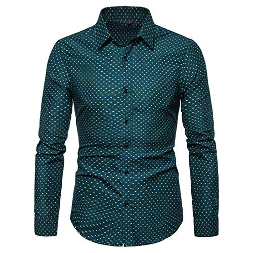 Herren Twill kariert Comfort Fit Slim-fit Long-Sleeve Micro-Check Shirt Langarm...