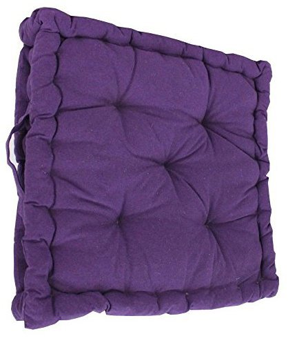 Comfy Nights 100% Cotton Covered Booster Cushion Extra Thick Adult Chair/Arm Chair/Garden Chair Cushions (Purple, 1)