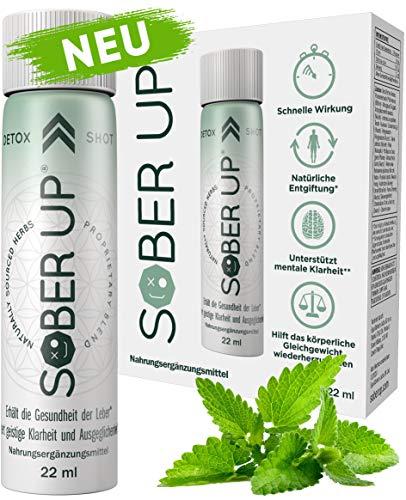 Sober Up® Leber Detox Shot - Senkt den Blutalkohol (u.a. mit Cholin, Kurkuma, Ginseng, Wermut) - Natürliche Detox Kur zum Entgiften der Leber (3 x 22ml Shots)