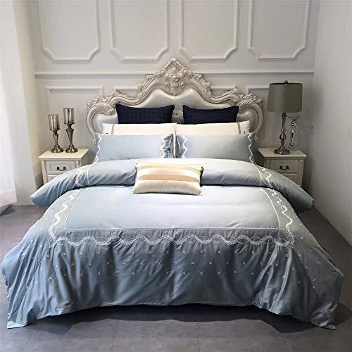 Fengbingl-hm Tröster Bettwäsche Set Vier Sätze Bettwäsche Baumwolle Langstapelige Baumwolle Gestickte Bettwäsche Kissenbezug Geeignet Für Home Interior (Größe : 1.5M)