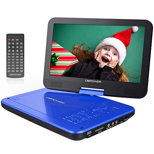 "DBPOWER 12"" Portable DVD Player with 5-Hour Rechargeable Battery, 10"" Swivel Display Screen, SD Card Slot and USB Port, with 1.8 Meter Car Charger and Power Adaptor, Region Free- Blue"