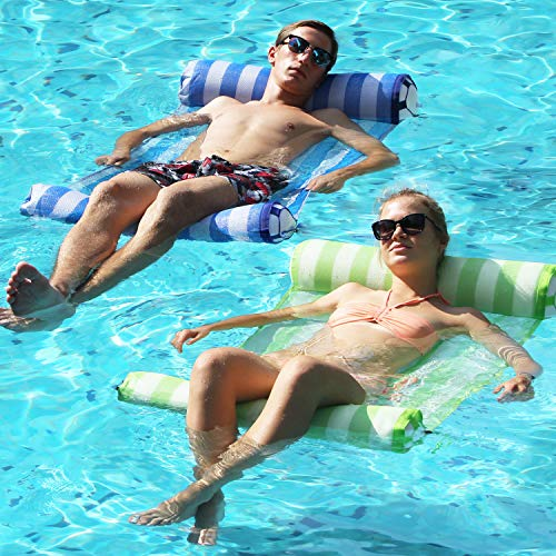 FindUWill 2-Pack Premium Swimming Pool Float Hammock, Multi-Purpose Inflatable Hammock (Saddle, Lounge Chair, Hammock, Drifter), Water Hammock Lounge (RoyalBlue and GreenYellow)