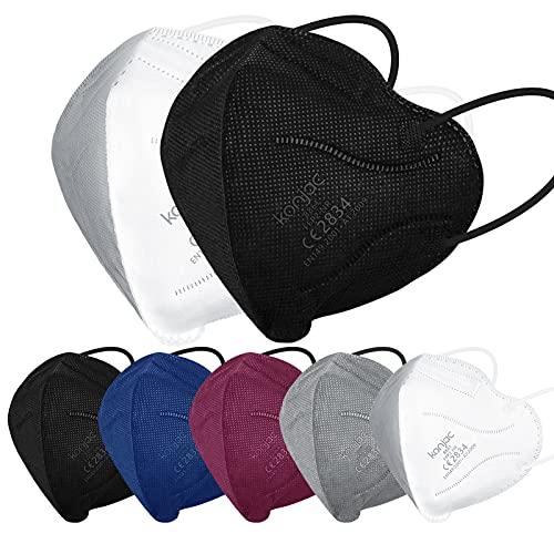 konjac FFP2 Maske Masken Mundschutz 50 stück, Einwegmasken 5-lagig Atemschutzmaske Einweg Gesichtsmaske FFP2 Masken Mund und Nasenschutz Staubschutzmasken für Erwachsene Einmalmasken-Bunt