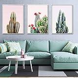 Aquarelle Plante Cactus Affiches et Impressions Art Mural Style Vert Peinture sur Toile Nordique Image décorative Moderne décor à la Maison 50x72cmx3 sans Cadre