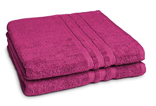 Castell by sleepling 100144/287/772/099-P - Juego de 2 toallas de ducha, 100% algodón, 70 x 140cm, algodón, frutas del bosque, 70 x 140 cm