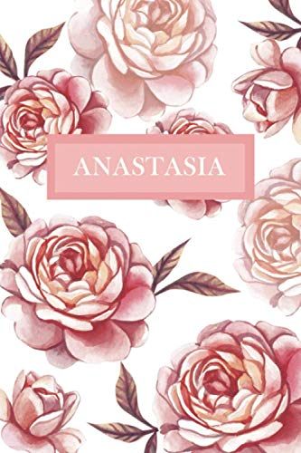 Anastasia: Personalized Notebook with Flowers and Custom Name – Floral Cover with Pink Peonies. College Ruled (Narrow Lined) Journal for Women and Girls