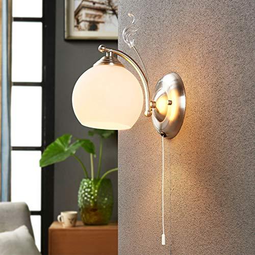 Lindby Wandleuchte, Wandlampe Innen \'Svean\' dimmbar (Modern) in Weiß aus Glas u.a. für Wohnzimmer & Esszimmer (1 flammig, E14, A++) - Wandstrahler, Wandbeleuchtung Schlafzimmer /, Wohnzimmerlampe
